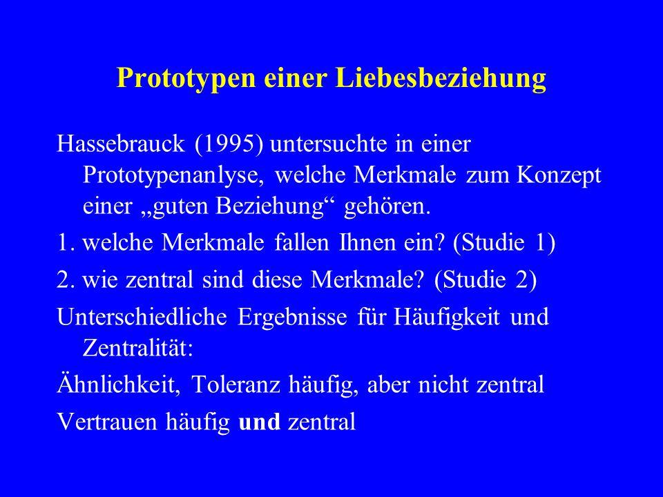 """Prototypen einer Liebesbeziehung Hassebrauck (1995) untersuchte in einer Prototypenanlyse, welche Merkmale zum Konzept einer """"guten Beziehung"""" gehören"""