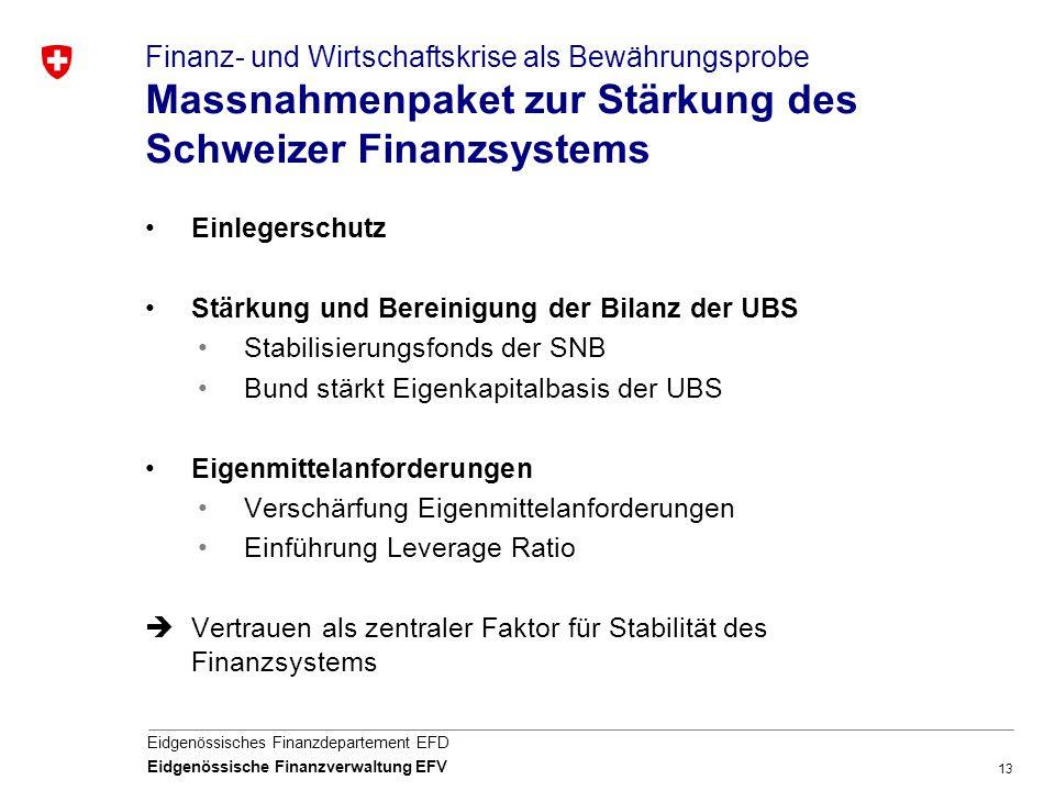 13 Eidgenössisches Finanzdepartement EFD Eidgenössische Finanzverwaltung EFV Finanz- und Wirtschaftskrise als Bewährungsprobe Massnahmenpaket zur Stär