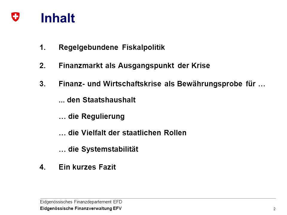 2 Eidgenössisches Finanzdepartement EFD Eidgenössische Finanzverwaltung EFV Inhalt 1.Regelgebundene Fiskalpolitik 2.Finanzmarkt als Ausgangspunkt der