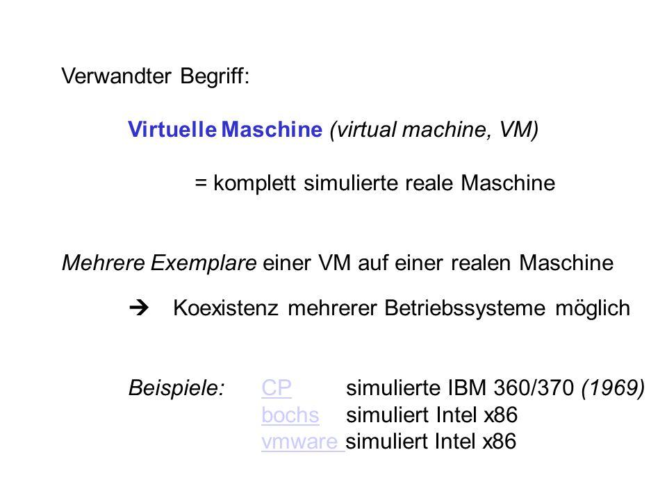 Verwandter Begriff: Virtuelle Maschine (virtual machine, VM) = komplett simulierte reale Maschine Mehrere Exemplare einer VM auf einer realen Maschine