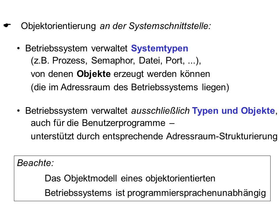  Objektorientierung an der Systemschnittstelle: Betriebssystem verwaltet Systemtypen (z.B. Prozess, Semaphor, Datei, Port,...), von denen Objekte er
