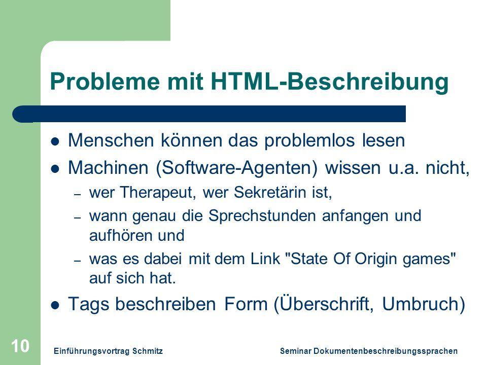 Einführungsvortrag Schmitz Seminar Dokumentenbeschreibungssprachen 10 Probleme mit HTML-Beschreibung Menschen können das problemlos lesen Machinen (Software-Agenten) wissen u.a.