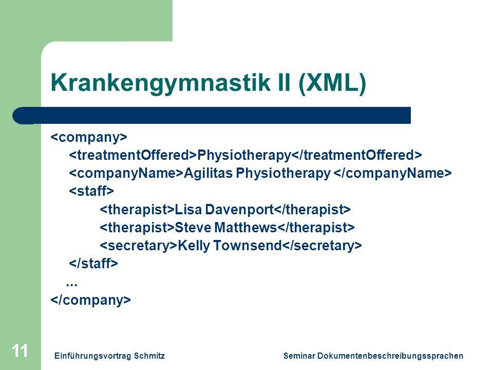 Einführungsvortrag Schmitz Seminar Dokumentenbeschreibungssprachen 11 Krankengymnastik II (XML) Physiotherapy Agilitas Physiotherapy Lisa Davenport Steve Matthews Kelly Townsend...