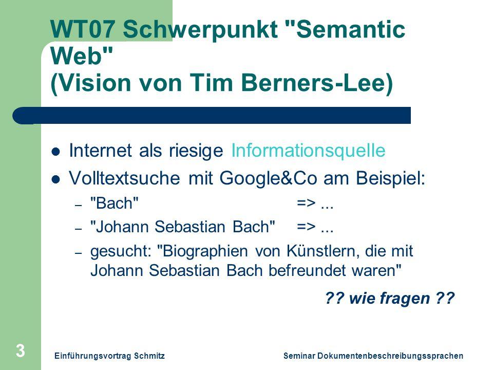 Einführungsvortrag Schmitz Seminar Dokumentenbeschreibungssprachen 3 WT07 Schwerpunkt Semantic Web (Vision von Tim Berners-Lee) Internet als riesige Informationsquelle Volltextsuche mit Google&Co am Beispiel: – Bach =>...