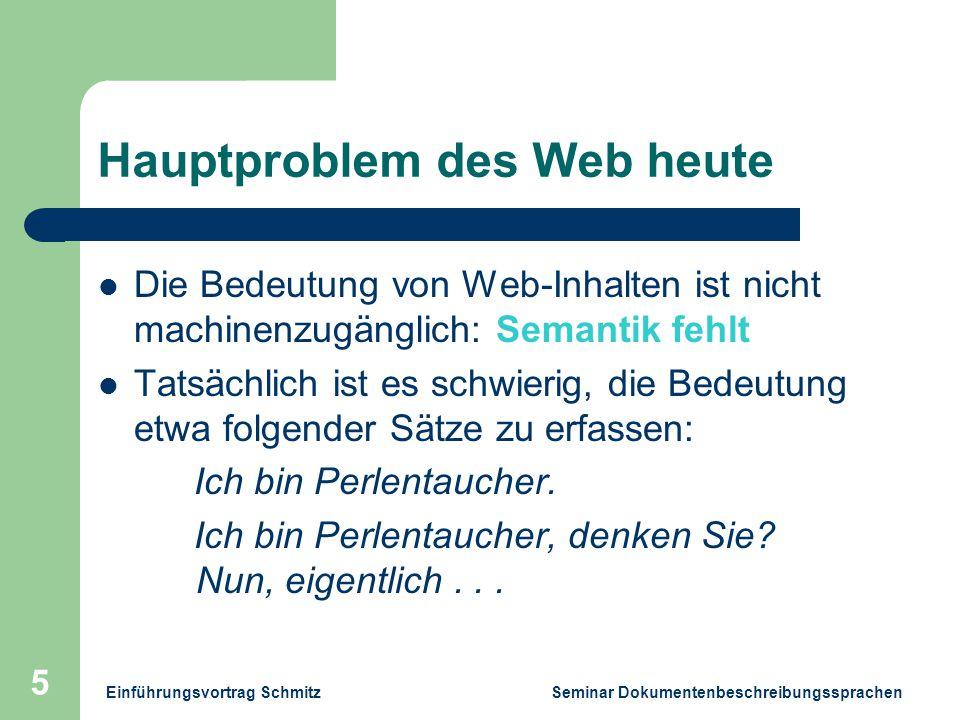 Einführungsvortrag Schmitz Seminar Dokumentenbeschreibungssprachen 5 Hauptproblem des Web heute Die Bedeutung von Web-Inhalten ist nicht machinenzugänglich: Semantik fehlt Tatsächlich ist es schwierig, die Bedeutung etwa folgender Sätze zu erfassen: Ich bin Perlentaucher.