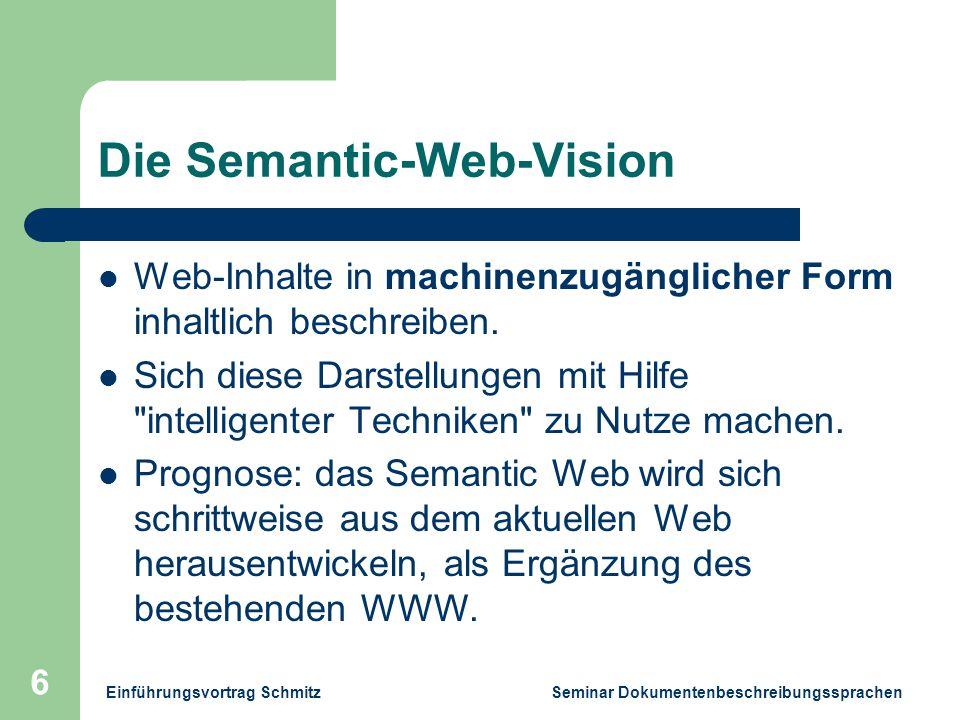 Einführungsvortrag Schmitz Seminar Dokumentenbeschreibungssprachen 6 Die Semantic-Web-Vision Web-Inhalte in machinenzugänglicher Form inhaltlich beschreiben.