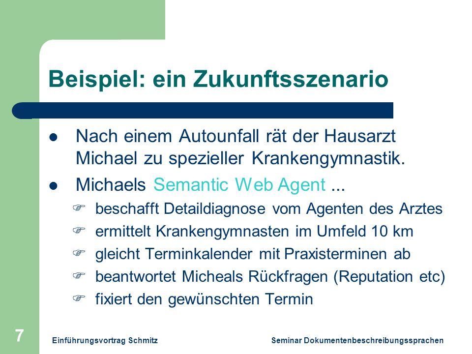 Einführungsvortrag Schmitz Seminar Dokumentenbeschreibungssprachen 7 Beispiel: ein Zukunftsszenario Nach einem Autounfall rät der Hausarzt Michael zu spezieller Krankengymnastik.