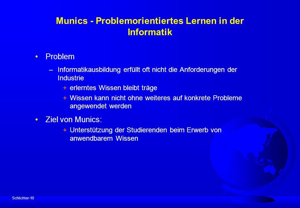 Schlichter-10 Munics - Problemorientiertes Lernen in der Informatik Problem –Informatikausbildung erfüllt oft nicht die Anforderungen der Industrie +e