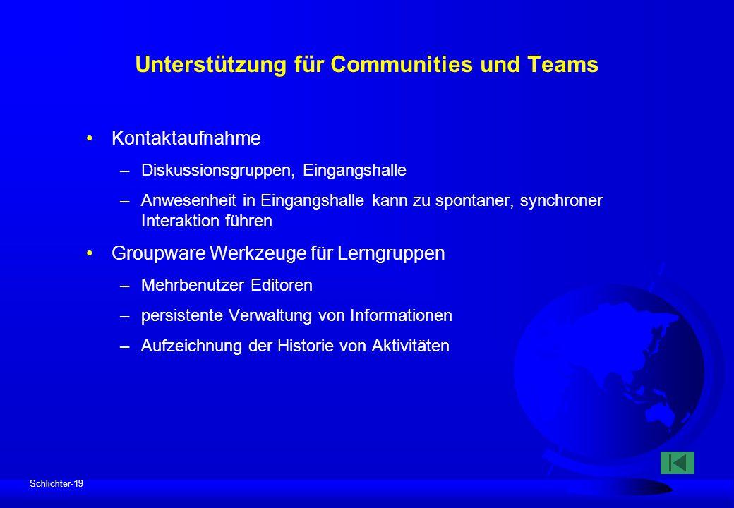 Schlichter-19 Unterstützung für Communities und Teams Kontaktaufnahme –Diskussionsgruppen, Eingangshalle –Anwesenheit in Eingangshalle kann zu spontan