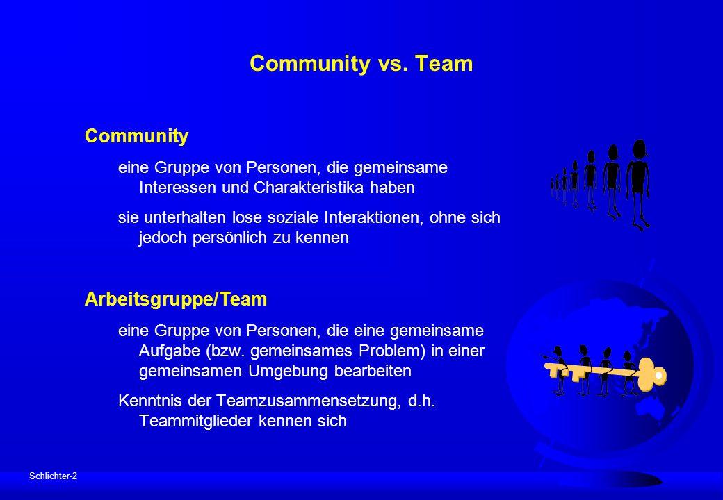 Schlichter-2 Community vs. Team Community eine Gruppe von Personen, die gemeinsame Interessen und Charakteristika haben sie unterhalten lose soziale I