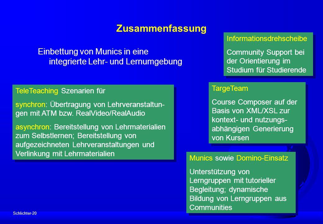 Schlichter-20 Zusammenfassung Einbettung von Munics in eine integrierte Lehr- und Lernumgebung Informationsdrehscheibe Community Support bei der Orien