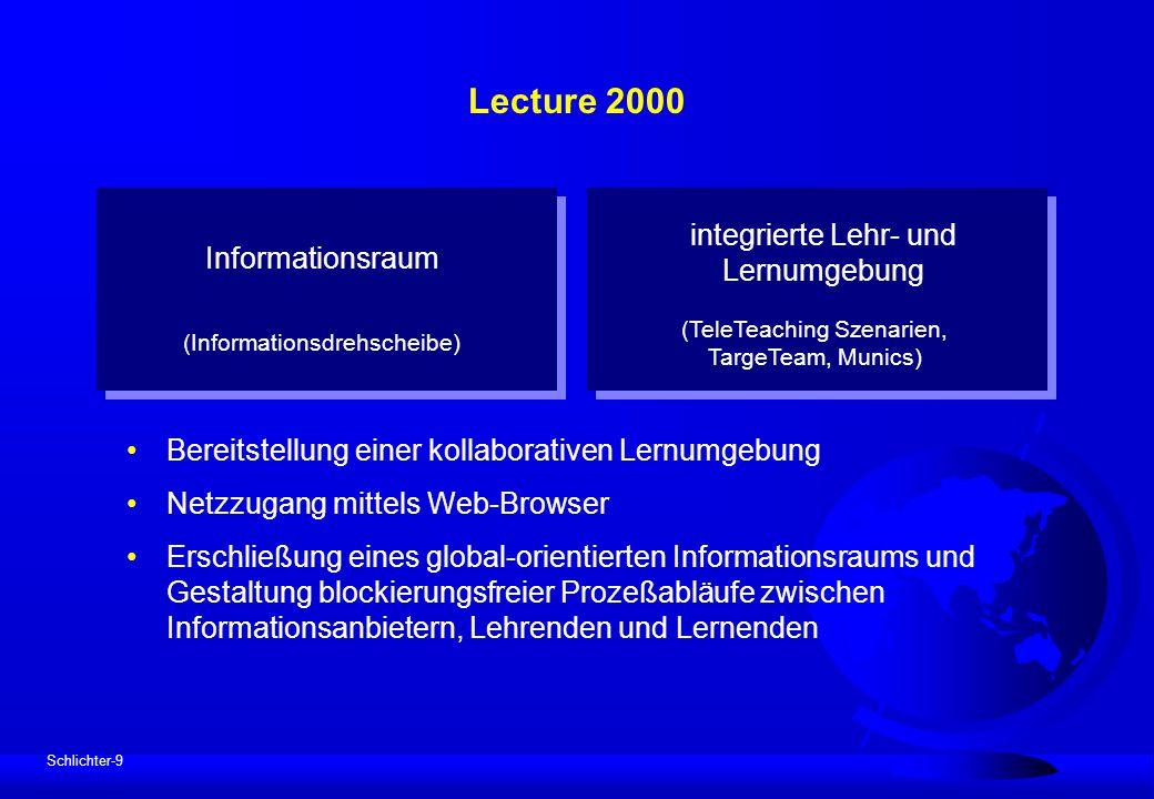 Schlichter-9 Lecture 2000 Bereitstellung einer kollaborativen Lernumgebung Netzzugang mittels Web-Browser Erschließung eines global-orientierten Infor