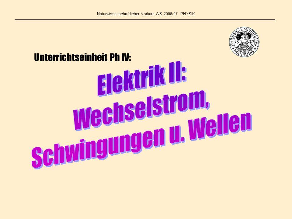Naturwissenschaftlicher Vorkurs WS 2006/07 PHYSIK Unterrichtseinheit Ph IV: