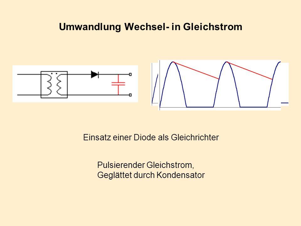Umwandlung Wechsel- in Gleichstrom Einsatz einer Diode als Gleichrichter Pulsierender Gleichstrom, Geglättet durch Kondensator