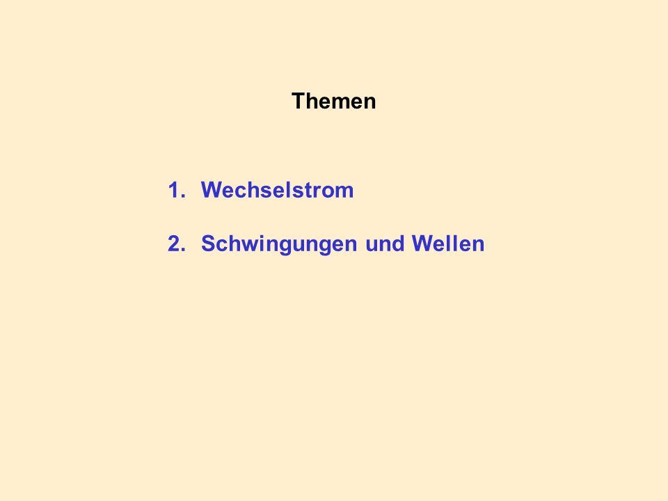 Themen 1.Wechselstrom 2.Schwingungen und Wellen