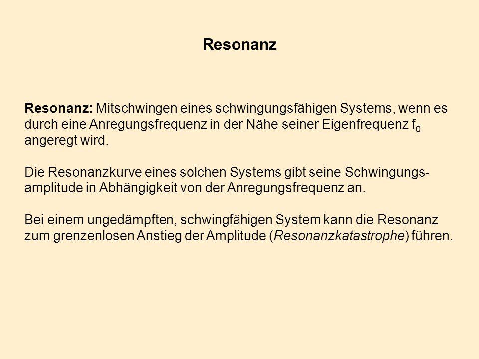 Resonanz Resonanz: Mitschwingen eines schwingungsfähigen Systems, wenn es durch eine Anregungsfrequenz in der Nähe seiner Eigenfrequenz f 0 angeregt w