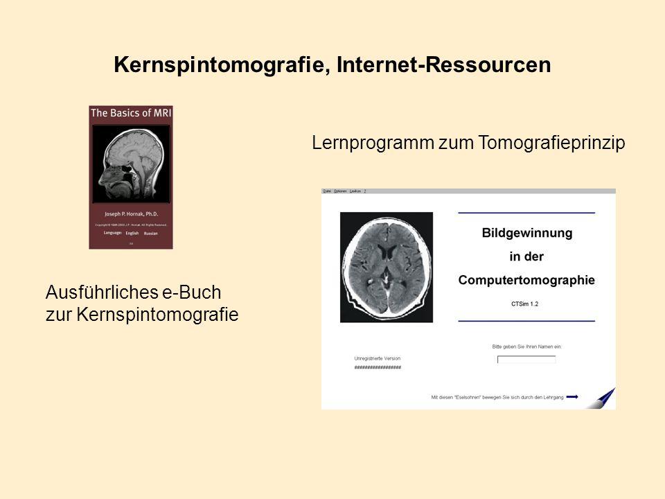 Kernspintomografie, Internet-Ressourcen Ausführliches e-Buch zur Kernspintomografie Lernprogramm zum Tomografieprinzip