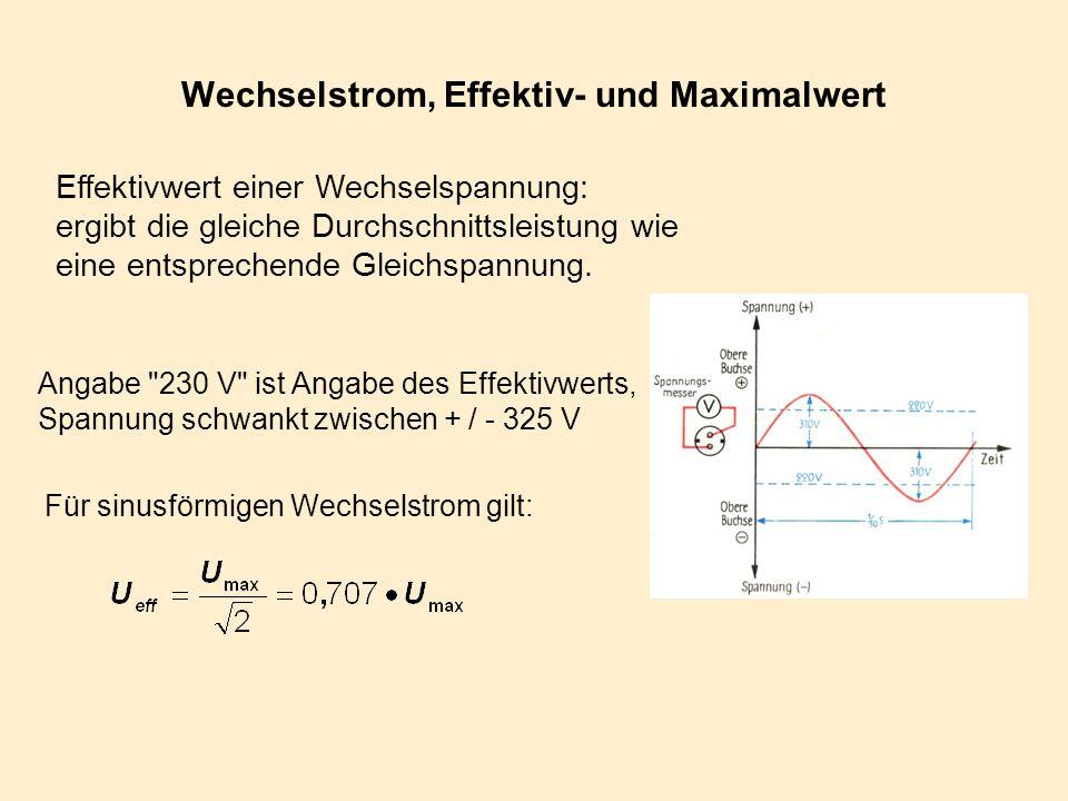 Wechselstrom, Effektiv- und Maximalwert Effektivwert einer Wechselspannung: ergibt die gleiche Durchschnittsleistung wie eine entsprechende Gleichspan