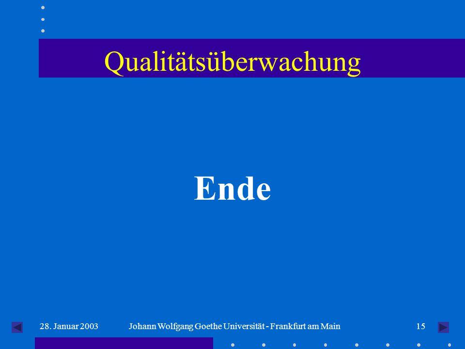 1528. Januar 2003Johann Wolfgang Goethe Universität - Frankfurt am Main Qualitätsüberwachung Ende