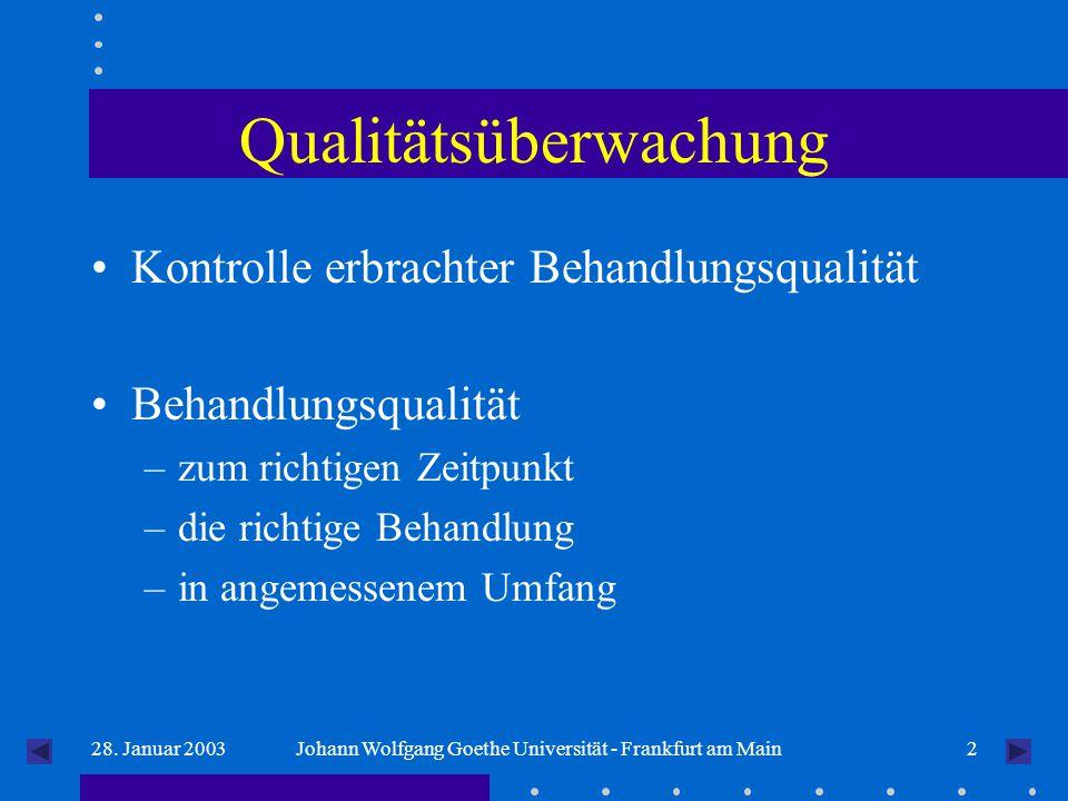 228. Januar 2003Johann Wolfgang Goethe Universität - Frankfurt am Main Qualitätsüberwachung Kontrolle erbrachter Behandlungsqualität Behandlungsqualit