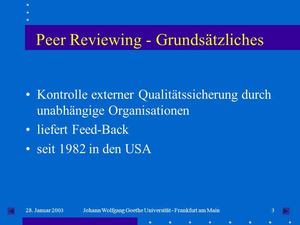 328. Januar 2003Johann Wolfgang Goethe Universität - Frankfurt am Main Peer Reviewing - Grundsätzliches Kontrolle externer Qualitätssicherung durch un
