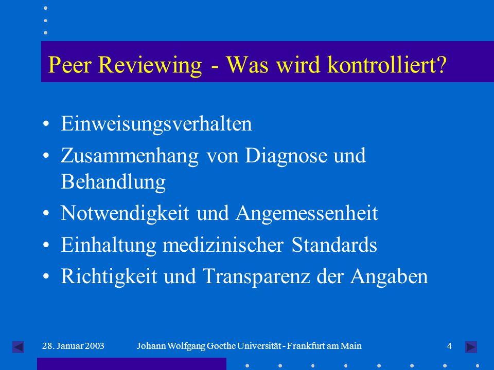 428. Januar 2003Johann Wolfgang Goethe Universität - Frankfurt am Main Peer Reviewing - Was wird kontrolliert? Einweisungsverhalten Zusammenhang von D