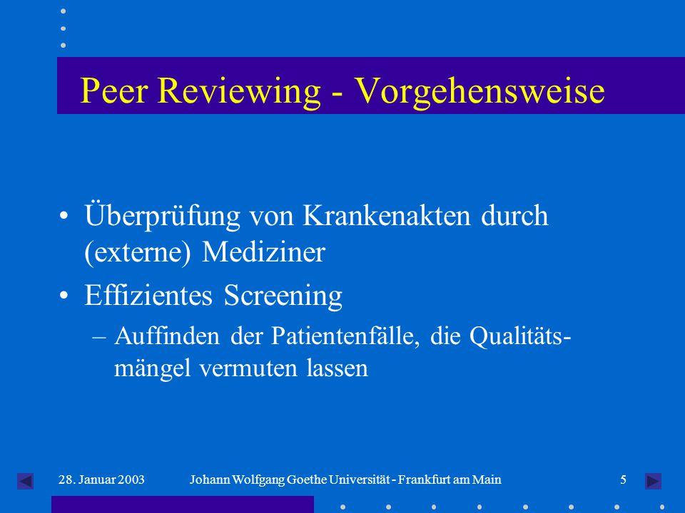 528. Januar 2003Johann Wolfgang Goethe Universität - Frankfurt am Main Peer Reviewing - Vorgehensweise Überprüfung von Krankenakten durch (externe) Me