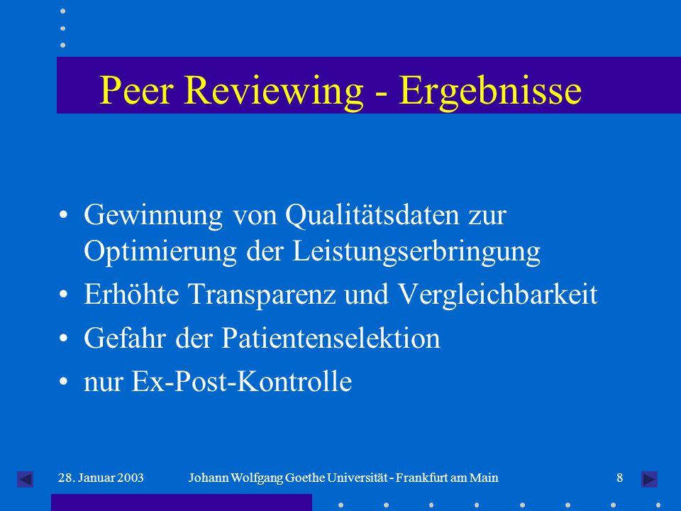 828. Januar 2003Johann Wolfgang Goethe Universität - Frankfurt am Main Peer Reviewing - Ergebnisse Gewinnung von Qualitätsdaten zur Optimierung der Le