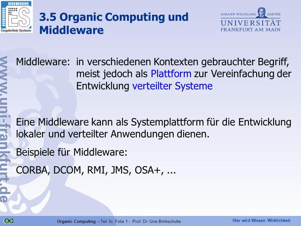 Hier wird Wissen Wirklichkeit Organic Computing – Teil 3c, Folie 1 - Prof. Dr. Uwe Brinkschulte Middleware:in verschiedenen Kontexten gebrauchter Begr