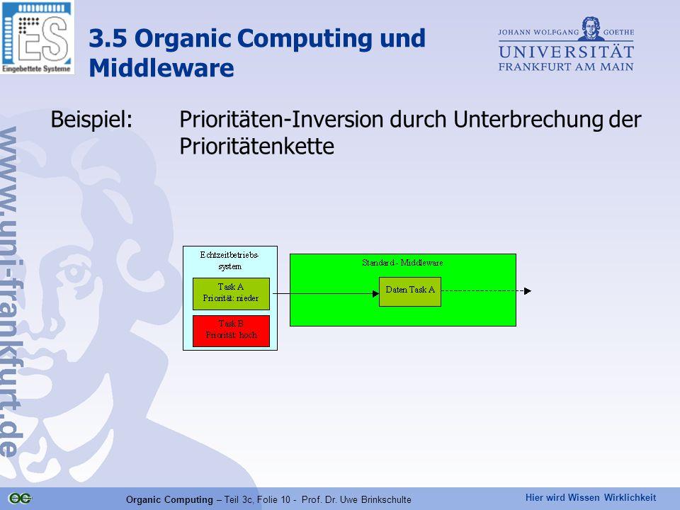 Hier wird Wissen Wirklichkeit Organic Computing – Teil 3c, Folie 10 - Prof. Dr. Uwe Brinkschulte Beispiel:Prioritäten-Inversion durch Unterbrechung de