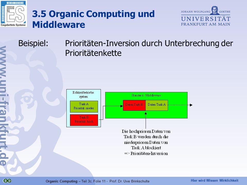 Hier wird Wissen Wirklichkeit Organic Computing – Teil 3c, Folie 11 - Prof. Dr. Uwe Brinkschulte Beispiel:Prioritäten-Inversion durch Unterbrechung de