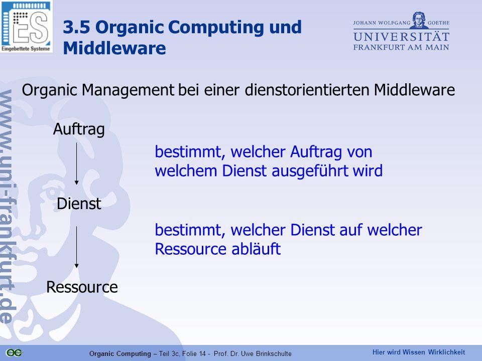 Hier wird Wissen Wirklichkeit Organic Computing – Teil 3c, Folie 14 - Prof. Dr. Uwe Brinkschulte Organic Management bei einer dienstorientierten Middl