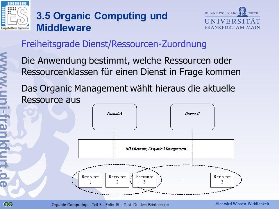 Hier wird Wissen Wirklichkeit Organic Computing – Teil 3c, Folie 15 - Prof. Dr. Uwe Brinkschulte Freiheitsgrade Dienst/Ressourcen-Zuordnung Die Anwend