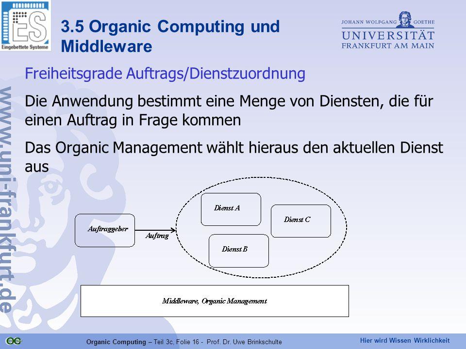 Hier wird Wissen Wirklichkeit Organic Computing – Teil 3c, Folie 16 - Prof. Dr. Uwe Brinkschulte Freiheitsgrade Auftrags/Dienstzuordnung Die Anwendung