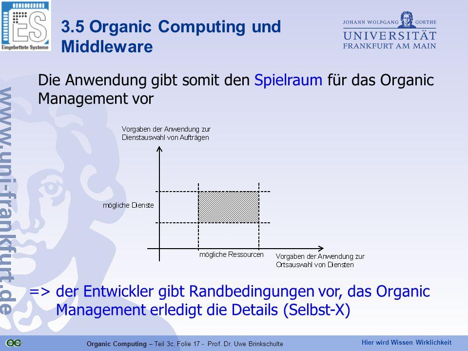 Hier wird Wissen Wirklichkeit Organic Computing – Teil 3c, Folie 17 - Prof. Dr. Uwe Brinkschulte Die Anwendung gibt somit den Spielraum für das Organi