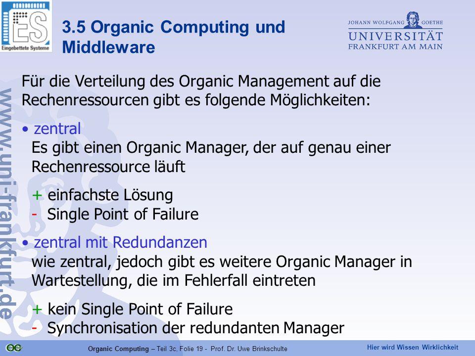 Hier wird Wissen Wirklichkeit Organic Computing – Teil 3c, Folie 19 - Prof. Dr. Uwe Brinkschulte Für die Verteilung des Organic Management auf die Rec