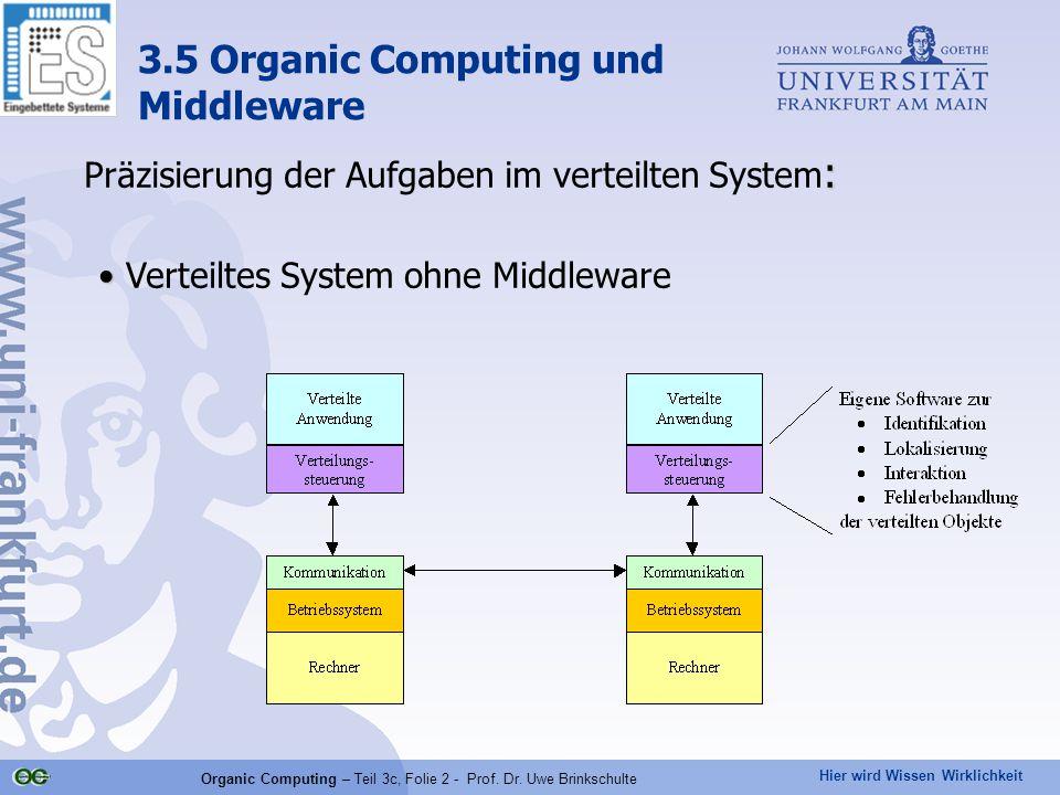 Hier wird Wissen Wirklichkeit Organic Computing – Teil 3c, Folie 2 - Prof. Dr. Uwe Brinkschulte : Präzisierung der Aufgaben im verteilten System : Ver