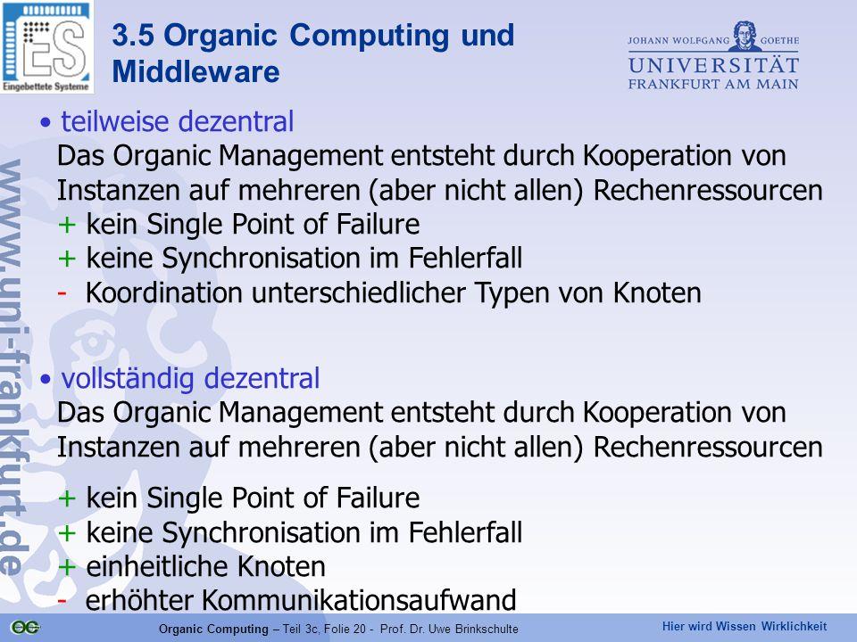 Hier wird Wissen Wirklichkeit Organic Computing – Teil 3c, Folie 20 - Prof. Dr. Uwe Brinkschulte teilweise dezentral Das Organic Management entsteht d