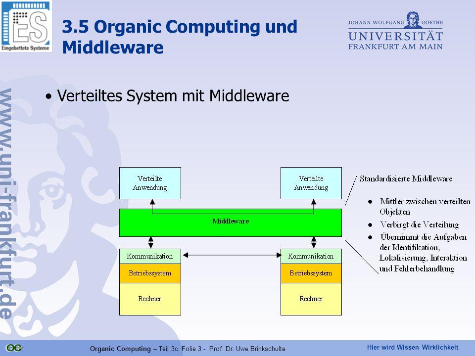 Hier wird Wissen Wirklichkeit Organic Computing – Teil 3c, Folie 3 - Prof. Dr. Uwe Brinkschulte Verteiltes System mit Middleware 3.5 Organic Computing
