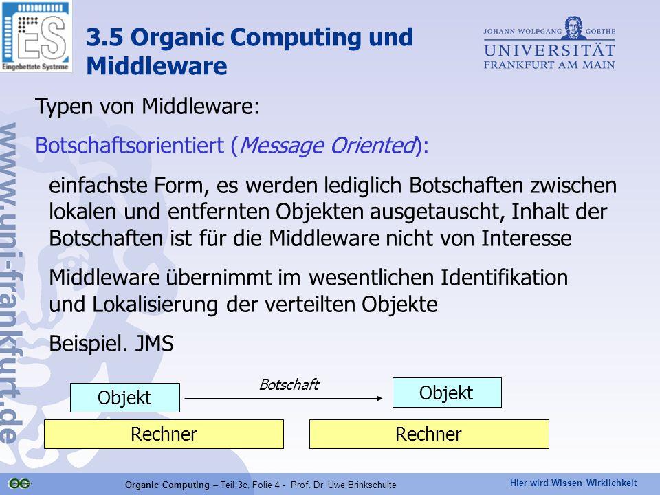 Hier wird Wissen Wirklichkeit Organic Computing – Teil 3c, Folie 4 - Prof. Dr. Uwe Brinkschulte Typen von Middleware: Botschaftsorientiert (Message Or