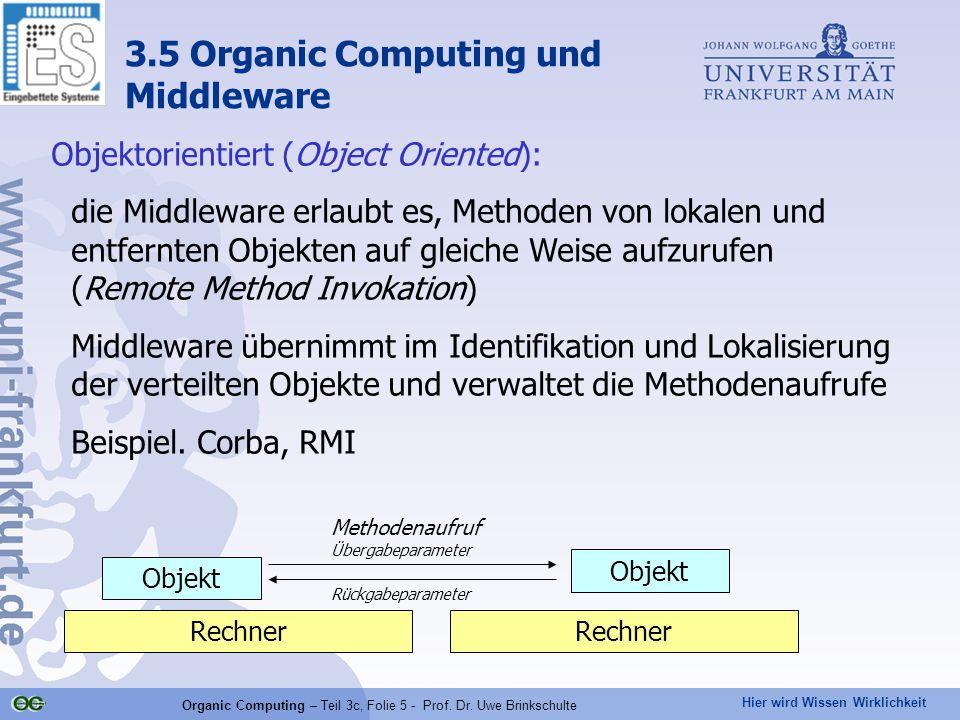 Hier wird Wissen Wirklichkeit Organic Computing – Teil 3c, Folie 5 - Prof. Dr. Uwe Brinkschulte Objektorientiert (Object Oriented): die Middleware erl