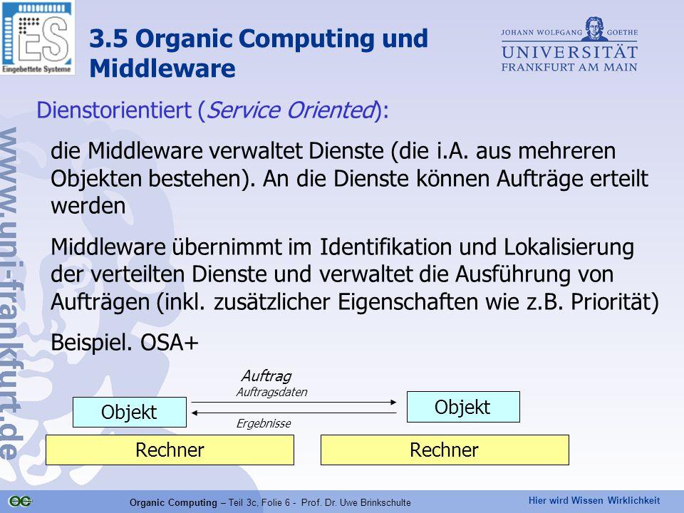 Hier wird Wissen Wirklichkeit Organic Computing – Teil 3c, Folie 6 - Prof. Dr. Uwe Brinkschulte Dienstorientiert (Service Oriented): die Middleware ve