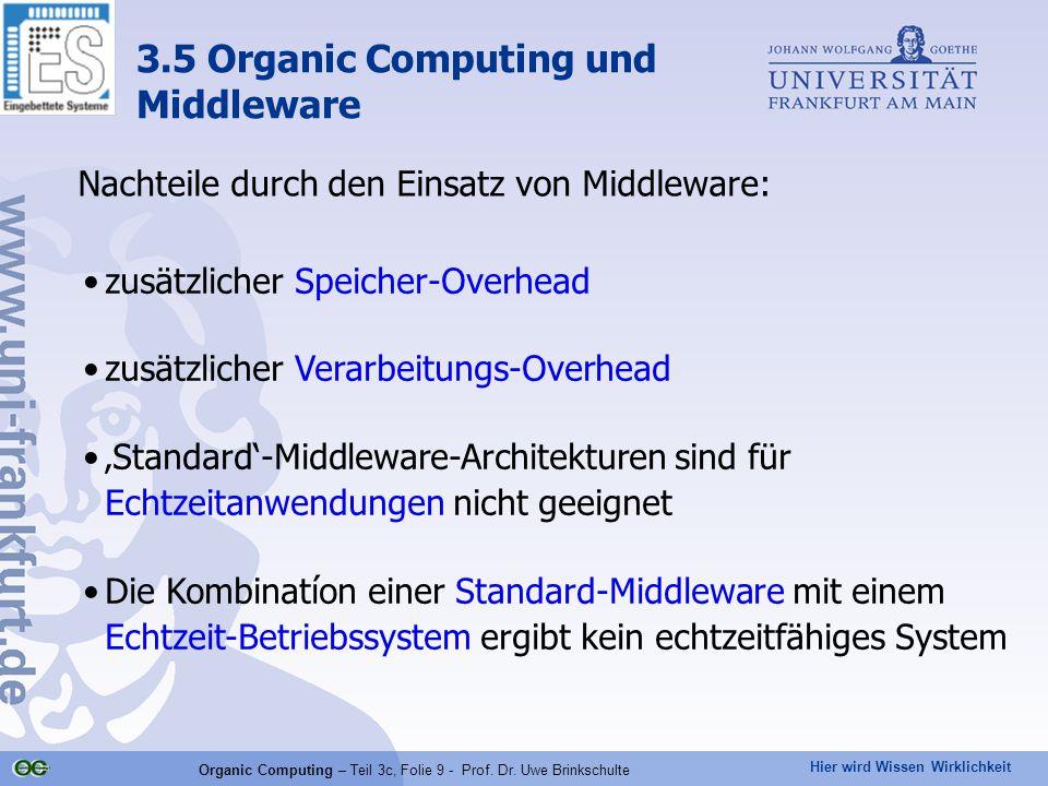 Hier wird Wissen Wirklichkeit Organic Computing – Teil 3c, Folie 9 - Prof. Dr. Uwe Brinkschulte Nachteile durch den Einsatz von Middleware: zusätzlich