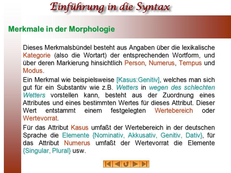 Merkmale in der Morphologie Dieses Merkmalsbündel besteht aus Angaben über die lexikalische Kategorie (also die Wortart) der entsprechenden Wortform, und über deren Markierung hinsichtlich Person, Numerus, Tempus und Modus.