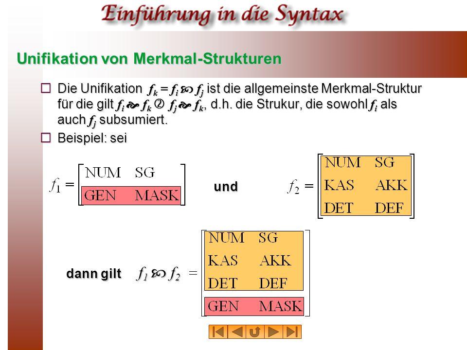 Unifikation von Merkmal-Strukturen  Die Unifikation f k = f i  f j ist die allgemeinste Merkmal-Struktur für die gilt f i  f k  f j  f k, d.h.
