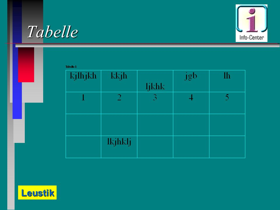Leustik Tabelle