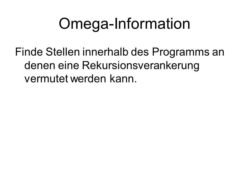 Omega-Information Finde Stellen innerhalb des Programms an denen eine Rekursionsverankerung vermutet werden kann.