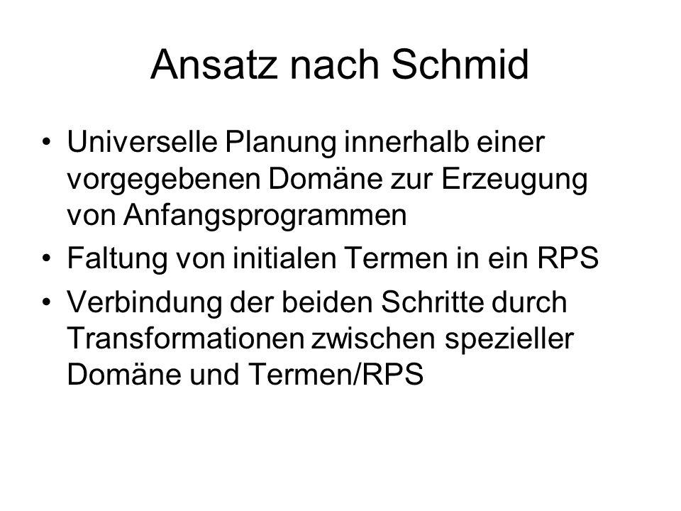 Ansatz nach Schmid Universelle Planung innerhalb einer vorgegebenen Domäne zur Erzeugung von Anfangsprogrammen Faltung von initialen Termen in ein RPS Verbindung der beiden Schritte durch Transformationen zwischen spezieller Domäne und Termen/RPS