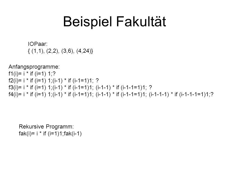 Beispiel Fakultät IOPaar: { (1,1), (2,2), (3,6), (4,24)} Anfangsprogramme: f1(i)= i * if (i=1) 1;.