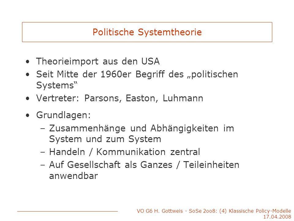 VO G6 H. Gottweis - SoSe 2oo8: (4) Klassische Policy-Modelle 17.04.2008 Politische Systemtheorie Theorieimport aus den USA Seit Mitte der 1960er Begri